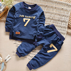 2017 niño niña niño ropa niño niños deporte trajes 4-12y traje de bebé ropa para niñas chándal para niños carta 2pc set