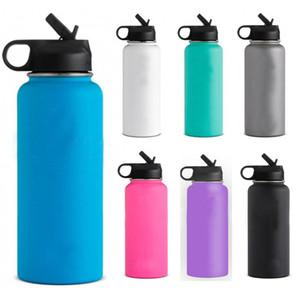 Botella de agua de vacío 18oz / 32oz / 40oz Vaso de agua de acero inoxidable con aislamiento de boca ancha taza de taza de bebida de viaje con tapas FHH7-1245