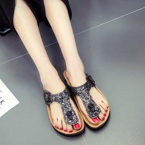 Ev Giyim Yaz Bayan Mantar Parmak arası Terlik Sequins Plaj Sandles Kadınlar Sole Terlik Seksi Düz Çevirme Açık Terlik Sandalet Vogue Serin