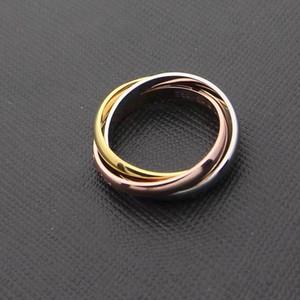 Art und Weise Männer / Frauen 316L Titanstahl 3 Kreise 3 Farbe 3in1 Hochzeits-Verlobung 18K Gold überzogene kombinierte Ringe Size5-11