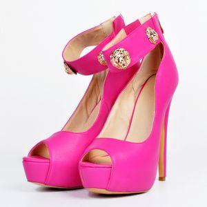 Kolnoo New Style Handmade Women Ladies High Heel Pumps Lion Head Deco Peep-toe Ankle Strap Party Dress Club Fashion Daily Shoes A020