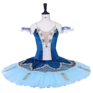 발레는 발레 복장 자기 아름다움 우단에서 직업적인 투투스 복장 코펠리아 파란 새 변이를 옷을 입습니다