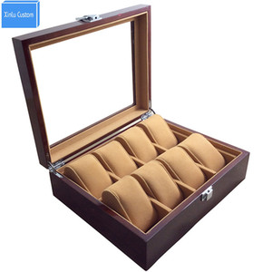 Watch Store Display 8 Slots Wristwatch Case Box Large Wood Paint Inner Velvet Pillow Display Jewelry Watches Case Organizer