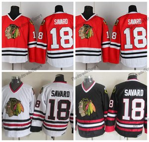 Mens Denis Vintage Savard Chicago Blackhawks camisas de hóquei barato em casa vermelho clássico branco 18 Denis Savard costurado camisas
