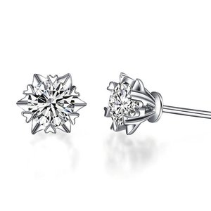 D F Color Moissanite Lab Certified Diamond Earring 9k,14k,18k Gold Inlay Rmantic Snowflake Design Forever Brilliant Stud With A Certificate
