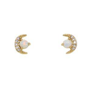 Mode-stilvolle 100% 925 Sterling Silber Crescent CZ Mond Lünette Opal Edelstein Ohrstecker Delicate Schmuck für süße Mädchen Ohrringe