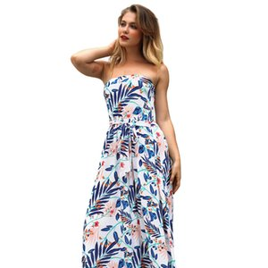 Women's Slim Printed Sexy First Love Dress Word Wrapped Chest Dresses Cake Skirts Dresses2019 New Summer Plus Size Women Clothing Irregular