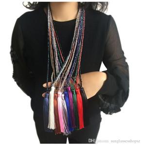 10 цвет флисовая нить кулон кристалл кисточкой свитер цепи женский длинное ожерелье ювелирные аксессуары