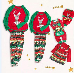 2018 Christmas Family Matching Clothing Pajamas Reindeer Geometric Baby Romper Kid Boys Girls Dresses Adult Outfits 5 Designs Xmas Clothes