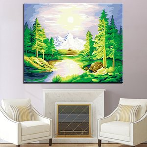Acrylic Paint Snow Mountain Creek DIY Painting By Numbers Modern Wall Art Picture Unique Gift For Home Decor Arts