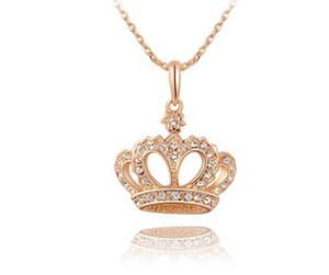 Романтический женщины мода ювелирные изделия розовое золото корона королева ожерелье кулон девушка день рождения Рождественский фестиваль партии подарок