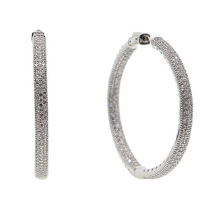 2018 new micro pave cz big hoop earring 25mm 50mm 2 sized fashion jewelry Cubic zirconia shiny silver plated classic jewelry