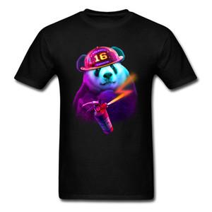 PANDA FIREFIGHTER Tops Tees Rife O-Neck Geek Manica corta 100% cotone T-Shirt da uomo Felpe normali Top Quality