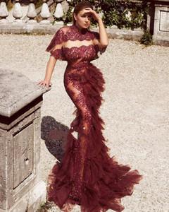 Sexy Borgoña árabe Kuwait Dubai Vestidos de baile de manga corta Sirena Ilusión Encaje Celebrity Abendkleider elegante noche vestidos formales