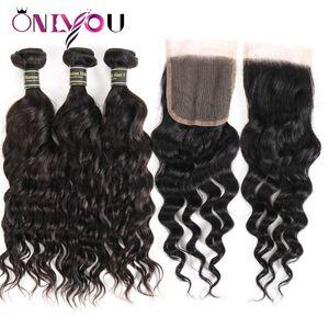 Fasci di capelli malesi della chiusura dei capelli umani della chiusura dei capelli con chiusura Colore nero bagnato ed ondulato Estensioni dei capelli dell'onda naturale Accordo della fabbrica