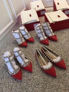 2018 femmes Designer talons hauts rivets mode fête filles sexy chaussures pointues chaussures de danse chaussures de mariage doubles sandales sangles de S006