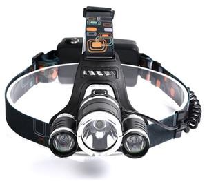 Wiederaufladbare scheinwerfer xm-t6 3 led scheinwerfer scheinwerfer angeln lampe jagd laterne + 2x 18650 batterie + auto / ac / usb ladegerät