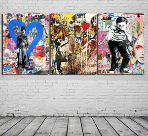 3 Pannelli Banksy Collage Graffiti art - Chaplin, Modern Canvas Pittura ad olio Stampa Wall Art Decor per soggiorno Decorazione Framed / Unframed