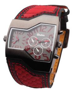 Neue Ankunfts-Mens-Art- und Weisemarke OULM 1220 passt doppeltes Japan Movt-Quarz-importierte Uhr-Militärbreites Bügel-großes Gesichts-Schwarzes auf
