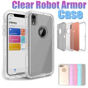 2018 híbrido de cristal transparente limpar robot 3 in1 tpu pc heavy duty defender case para iphone xs max xr 6 7 8 além de
