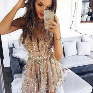Shyloli mulheres sexy borla vestidos de festa sem encosto halter ouro mini profundo decote em v dress summer club desgaste vestidos 2018 recém-chegados