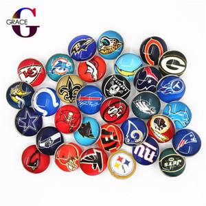 32 unids Mezcla Equipo de Fútbol Deportes Encantos 18mm Reemplazable Ginger Glass Snap Buttons Fit Snaps BraceletsBangles Joyería DIY