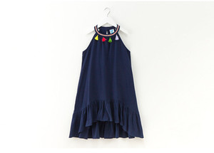 4 to 12 years Girls' dress summer tassel clothing beach Casual clothing Bohemia style kids Retail wear, R1AAB512DS-99, [ElevneStory_DH]