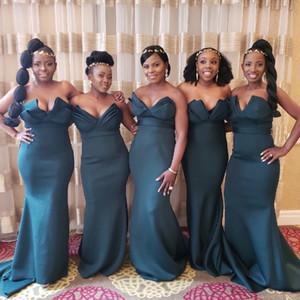 Hunter Green Sexy senza spalline con scollo a sirena abiti da damigella d'onore 2018 nigeriani africani di lunghezza del pavimento damigella d'onore abiti da spiaggia matrimoni