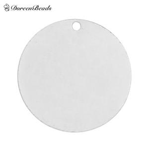 "DoreenBeads Cobre Etiquetas de Estampación en Blanco Colgantes Redondos para Collares Aretes Pulseras color plata 25mm (1 "") Dia, 20PCs"