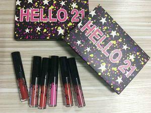 NUEVO CUMPLEAÑO HELLO 21 LIP GLOSS Maquillaje Matte Lipstick Limited Edición Limitada Colección de cumpleaños Hola 21 Mini Kit Lápices labiales 6Colors Lipgloss Set