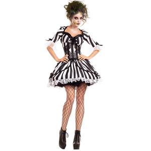 Yeni Siyah Eklemek Beyaz Şerit Hayalet Gelin Kostüm kadın Cadılar Bayramı Zombi Fantezi Elbise Parti Cosplay Kıyafet Kostümleri için seksi