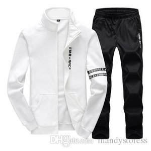 Plus Size Mens Sweat Suits Zipper Sweatshirts Jackets+Pants Jogger Sporting Suits Mens Tracksuit Sets Sudaderas Hombre