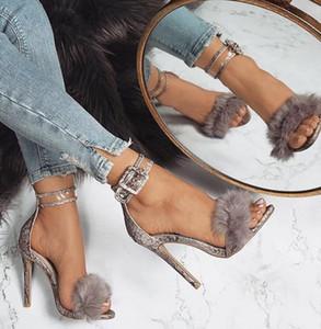 Frau sandalen transparent high heel knöchelriemen kunstpelz hochzeit pumpe fashion party schuhe sapato feminino