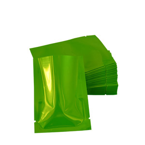 متعددة الحجم 200 قطعة / الوحدة الأخضر الألومنيوم احباط حزمة أكياس فراغ الحقائب الغذائية القهوة الشاي مسحوق حرارة الختم حقيبة التخزين مع الشق تمزيق