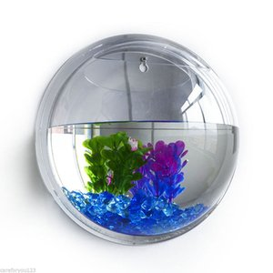 3D Acrylique Fixation Murale Hanging Fish Bowl Aquarium Réservoir Goldfish Hanger Plante Transparent Réservoir De Poissons Autocollant Mural Décor P0.11