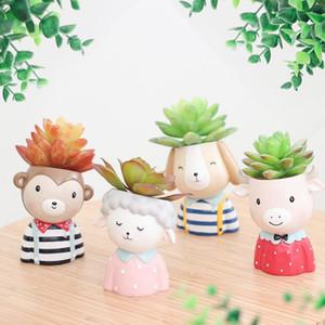 Set de macetas de animales de granja - 4pcs Plantas suculentas de animales Maceta Maceta Mini Bonsai Cactus Maceta Decoración para el hogar Monkey Puppy Craft gift