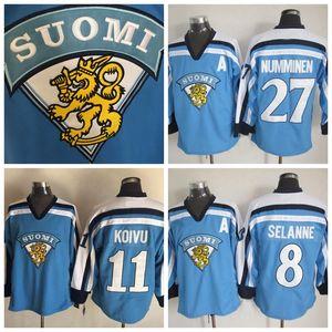 1998 команда Финляндия 11 Saku Koivu Blue Jerseys 2002 Team Finland 8 Teemu Selanne 27 Teppo Numminen Винтаж светло-голубой олимпийский хоккей