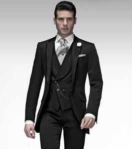 Новые Поступления Одна Кнопка Черный Жених Смокинги Groomsmen Пик Отворотом Лучший Человек Blazer Мужские Свадебные Костюмы (Куртка + Брюки + Жилет + Галстук) H: 709
