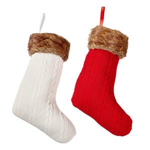 Bas de Noël en tricot rouge et blanc de grande taille - Lot de 2 - ajout magnifiquement vintage, décor de Noël