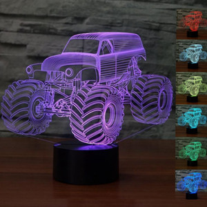 Envío gratuito decoración del hogar Gräber Monster Truck 3D Tischleuchte 7 Farben Nachtlicht tischlampe regalo de Navidad # R54