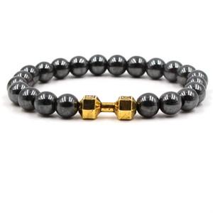 3 colores Dumbbell Charms Strand Pulsera Hematita Negro Cuentas de Piedra Pulseras de Buda Yoga Joyería de Reforzado