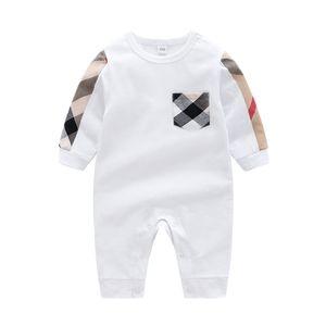 طفل الفتيان السروال القصير العلامة التجارية مصمم الاطفال منقوشة طويلة الأكمام حللا الرضع الفتيات إلكتروني التطريز القطن رومبير الصبي الملابس A3821