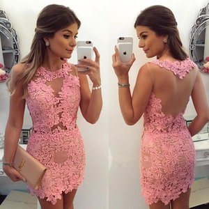 Sheer Crew Neck Lace Sheath Cocktail Dresses 2019 Illusion Applique Formal Mini Seen Through Back Party Short Homecoming Gowns BC0095
