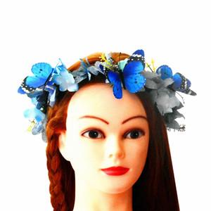Mariposa azul y flor corona tocado flores diademas para el cabello para mujeres accesorios para el cabello nupcial tocados para novia tocado de novia
