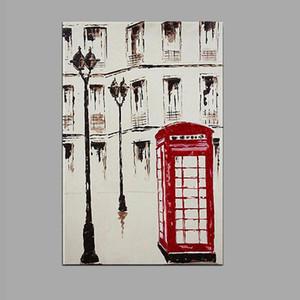 100% Londra'da HandPainted Yağlıboya Streetscape Telefon kulübesi Wall Art Resim Ev Dekor Çocuklar Yatak Odası Oturma Odası Için dh7