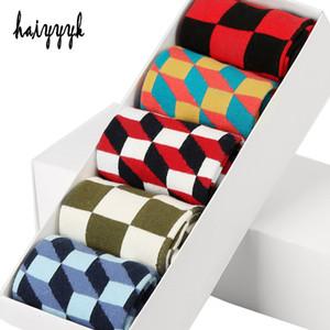 5 paires / lot coton peigné chaussettes pour hommes chaussettes de compression heureux coloré diamant robe drôle chaussettes hommes grande taille 39 -46