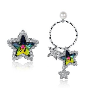 Hemiston 100% 925 Sterling Silver Cor Coreano Estrela de Cristal Assimétrico Padrão Feminino Brincos Presente Da Jóia Para As Mulheres YHE0032B-M C18110801