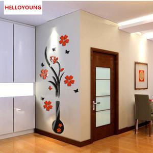 DIY Vase Blumen-Baum-Kristallacryl 3D-Wand-Aufkleber Aufkleber Vase Acryl-Aufkleber Blumen im Vase Dekor Sticker