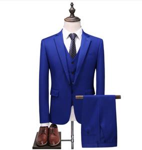 2018 mens jacket Nuevo estilo de trajes de boda casual masculino traje de chaqueta de hombres de negocios de buena calidad trajes de hombres (Jacket + Vest + Pants)