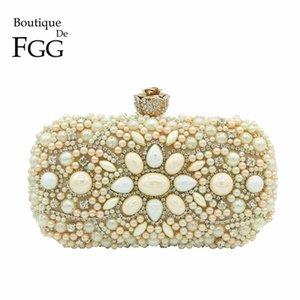 Boutique De FGG ручной работы шампанское бисером Кристалл женщины вечер клатч металл Minaudiere свадьба свадебная сумочка кошелек